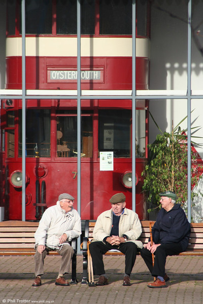 Retired: Three gents contemplating the downward path of civilisation since the Mumbles Railway closed. (Swansea Museum, 22nd January 2006).