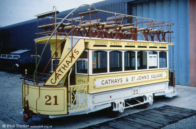Lowbridge horse car 21 of the Cardiff Tramways Co. Ltd. at the former Welsh Industrial and Maritime Museum. Dating from 1872, horse cars were replaced in 1902.