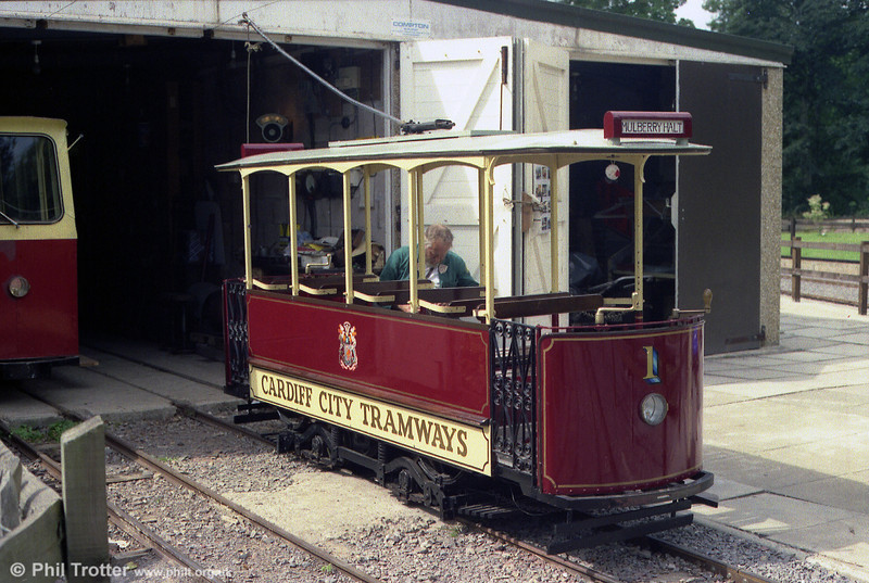 "The Whitchurch and District Model Engineering Society built this 18"" gauge tram to run on the Heath Park Electric Tramway, Cardiff and is seen on 27th August 1990."