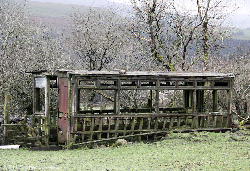 A second view of the remains of the lower saloon of a double deck car, believed to haven come from the Swansea fleet, on a farm at Brynamman on 3rd February 2013.