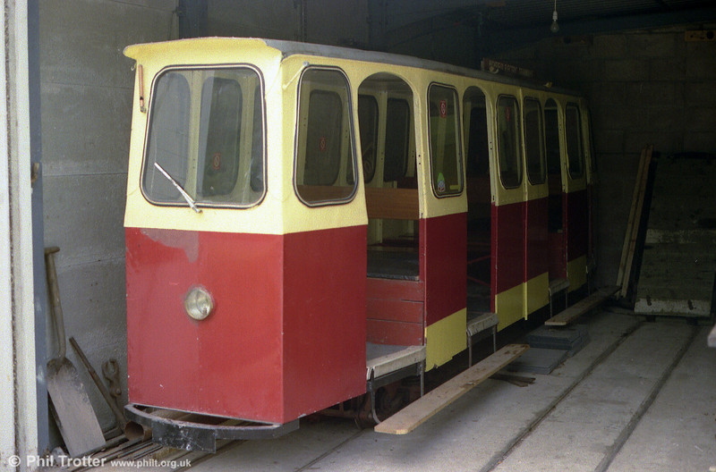 A more modern looking semi enclosed car dating from 1976 of the Heath Park Electric Tramway, Cardiff on 27th August 1990.