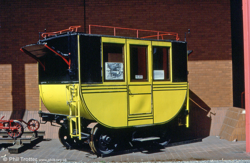 The Oystermouth Tramway replica horse car built in 1954 for the 150th anniversary of the Swansea and Mumbles Railway. The axles are the last surviving remains of the line's Hardy petrol locomotive. July 1985.