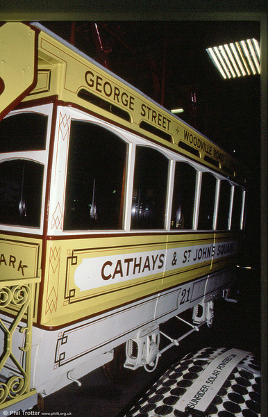 Cardiff Tramways Co. Ltd. horse car 21 photographed in January 1989.