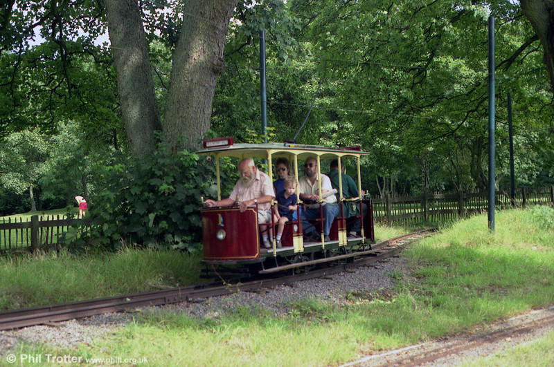 Car no. 1 of the Heath Park Electric Tramway on 27th August 1990. The tram is driven here by the late Felix Cunuder. former chief engineer of Cardiff City Transport.