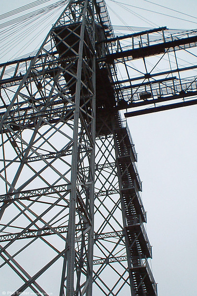 Detail of the lattice arrangement of one of the Newport Transporter Bridge towers. 16th March, 2005.