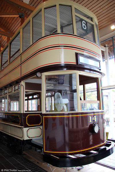 A closer look at Swansea Improvements & Tramways car 14 of 1923 at Swansea Maritime & Industrial Museum on 10th September 2011. The Swansea system closed on 29th June 1937.