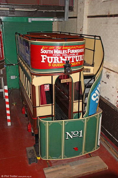The preserved Neath gas car no. 1 is one of the original four cars of 1899. Neath acquired several additional small and large cars from Lytham in 1903. 10th September 2011.