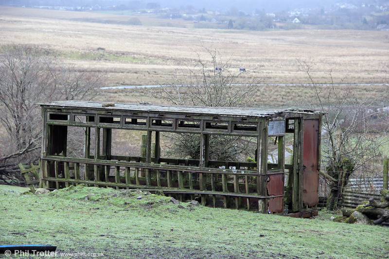 The remains of the lower saloon of a double deck car, believed to haven come from the Swansea fleet, on a farm at Brynamman on 3rd February 2013.
