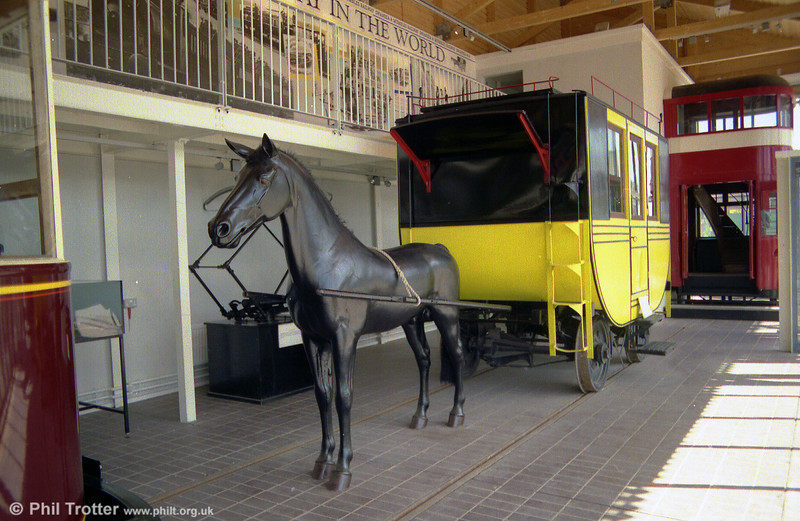 A second view of the replica Oystermouth Tramway horse car at Swansea Museum in October 1989.
