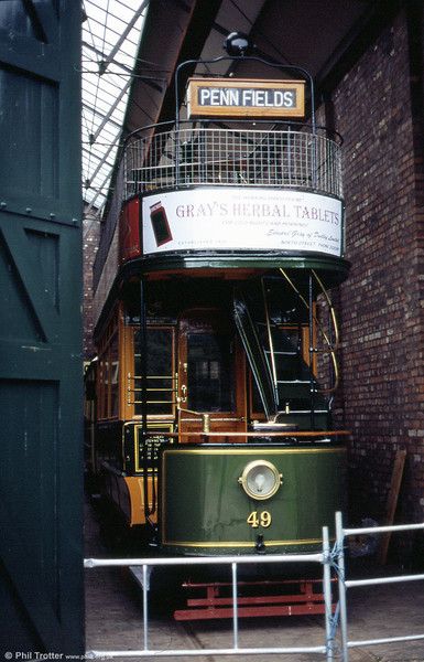 Immaculate Wolverhampton Corporation no. 49 of 1909 at the Black Country Museum on 5th June 2004. During the period following withdrawal from service, 49 saw use as a coffin store by an undertaker!