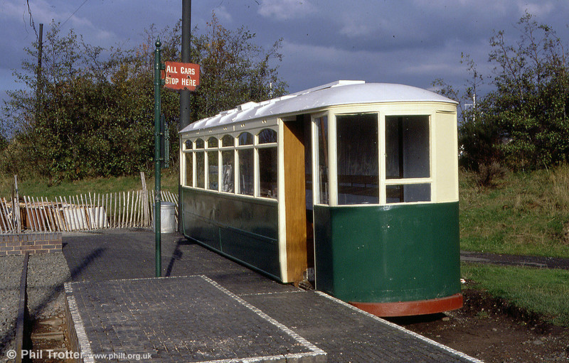 Wolverhamton District 102 in use as a waiting shelter at the village terminus, Black Country Museum on 3rd November 1990.