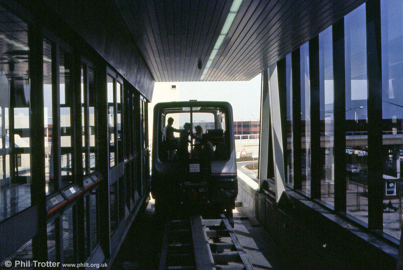 A second view of the Maglev system at Birmingham International Airport. The line closed in 1995. One of the cars is preserved at Railworld, Peterborough.