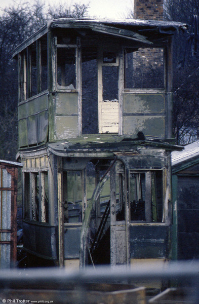 The remains of a Wolverhampton double deck car at the Black Country Museum in January 1989.