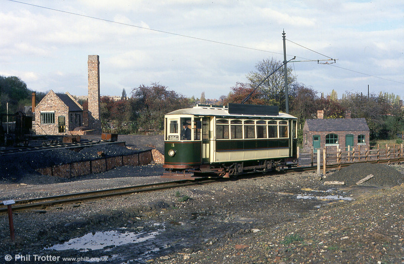 In a developing replica Black Country landscape, this is Dudley & Stourbridge car 5 on 3rd November 1990.