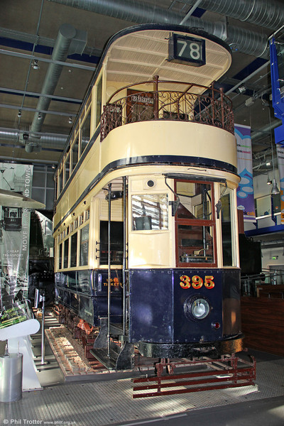 "Birmingham 395 was built in 1911 for the city's 3' 6"" gauge network and is the only complete survivor of the Birmingham Corporation Tramways fleet. Seen at Birmingham Thinktank on 29th October 2011."