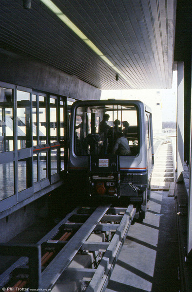 A view of the former Maglev system at Birmingham International Airport which had been running between the airport and Birmingham International rail station on a 600 metre (1,969 ft) track since 1984. Top speed was 26mph.