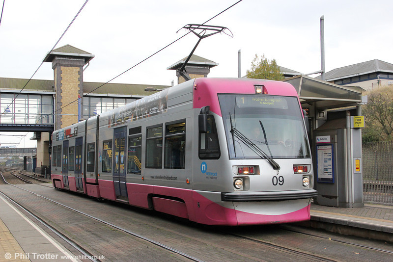 Car 09 in its new silver and magenta 'Network West Midlands' livery at the Hawthorns on 29th October 2011. To date, only cars 05, 07, 09 and 10 have appeared in this livery.