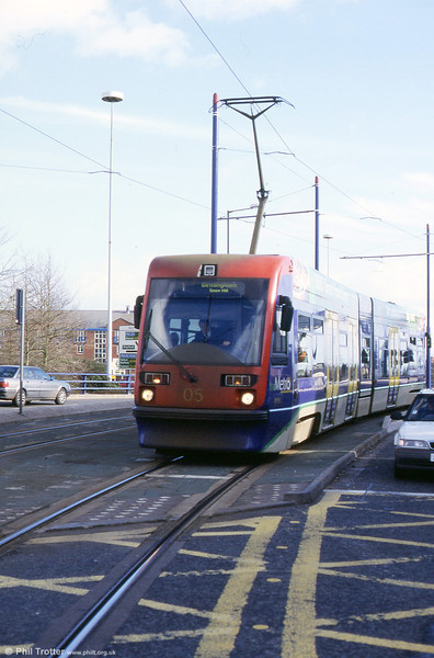 Car 05 at Wolverhampton St. George's terminus early in 2002.