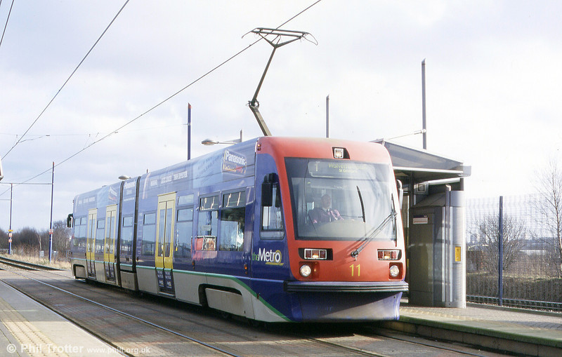 Midland Metro car 11 at Handsworth in the early part of 2002.