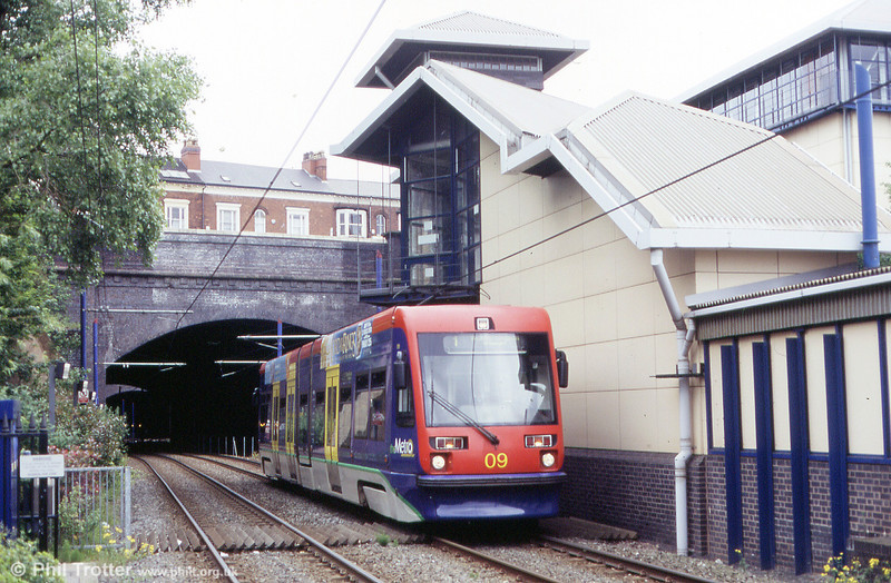 Midland Metro car 09 emerges from the tunnels at the Jewellery Quarter on 5th June 2004. Sixteen of these Firema T69 cars are operated on the system.