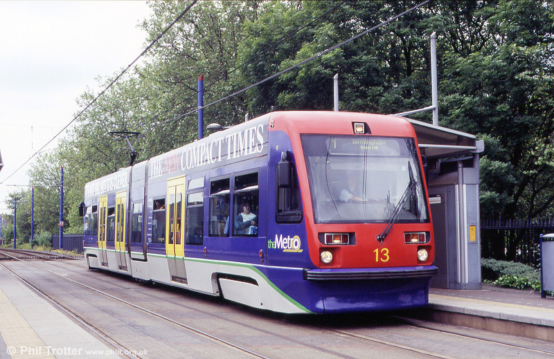 Unlucky for some...Midland Metro car 13 which has reportedly been struck by lightning twice at the Jewellery Quarter on 5th June 2004.