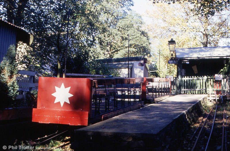 "The 1' 8"" gauge Shipley Glen Cable Tramway was opened in 1895 to serve a fairground on Shipley Glen, near Baildon. This is the main terminus seen on 7th October 1990."