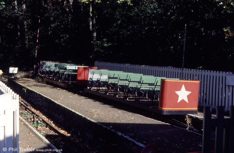 A pair of Shipley Glen Cable Tramway cars on 7th October 1990. The line is operated using four of these cars permanently coupled in pairs which were built by Webbs Trucks in 1955/6.