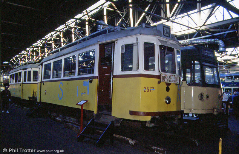 Budapest 2577 (with 2576 behind) built by Ganz in 1904 at the West Yorkshire Transport Museum, Bradford on 7th October 1990. The pair were eventually to run at the ill-fated 'Transperience' attraction at Low Moor.
