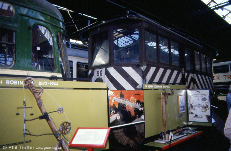1905-built former Brussels snowbroom car 96 at the West Yorkshire Transport Museum, Bradford on 7th October 1990.