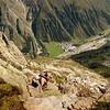 Climbing Brandkogel, view down to Mandarfen.