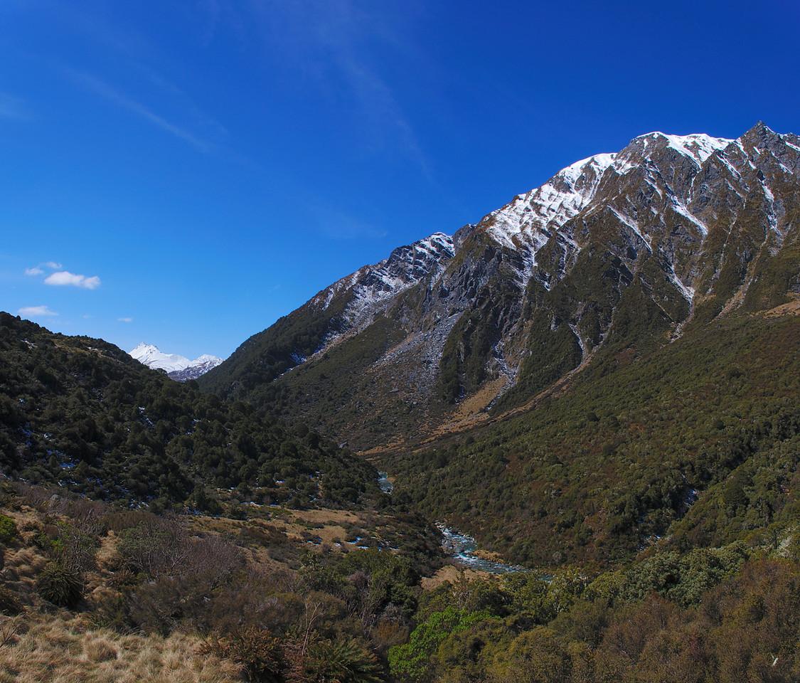 Albert Burn: view down valley towards Mt Jumbo