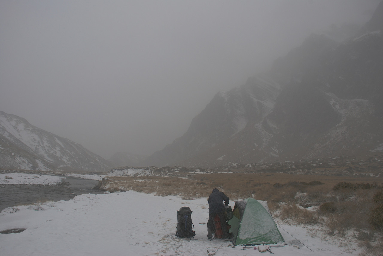 The next morning, about to leave camp at the head of the Albert Burn South Branch