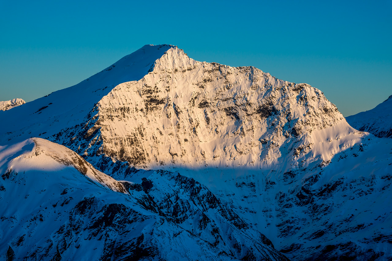 The east face of Fastness Peak from Pt 1854m north of Albert Burn Saddle