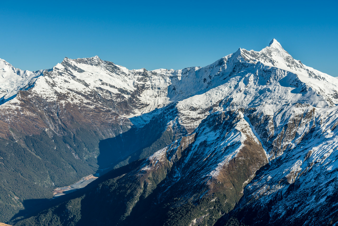 Mount Avalanche, Popes Nose and Mount Aspiring from Pt 1854m north of Albert Burn Saddle