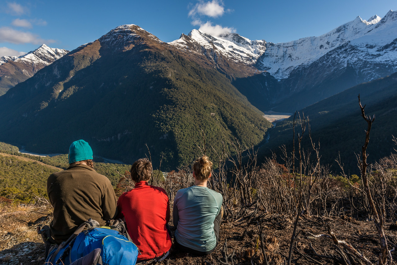 In the burnt area on the track to Albert Burn Saddle, looking into the Kitchener River and Aspiring Flats. Mount Avalanche and Popes Nose above.