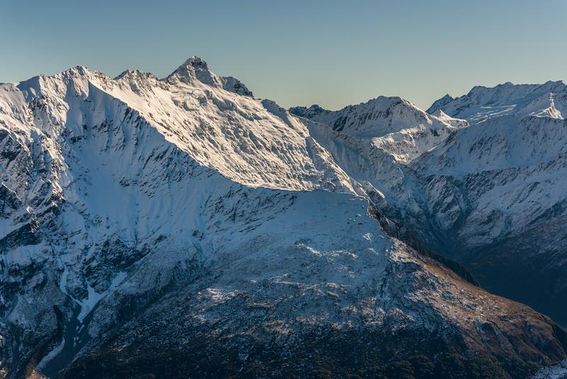 Ruth Ridge, Pickelhaube, Rabbit Pass and Mt Taurus from Pt 1854m north of Albert Burn Saddle