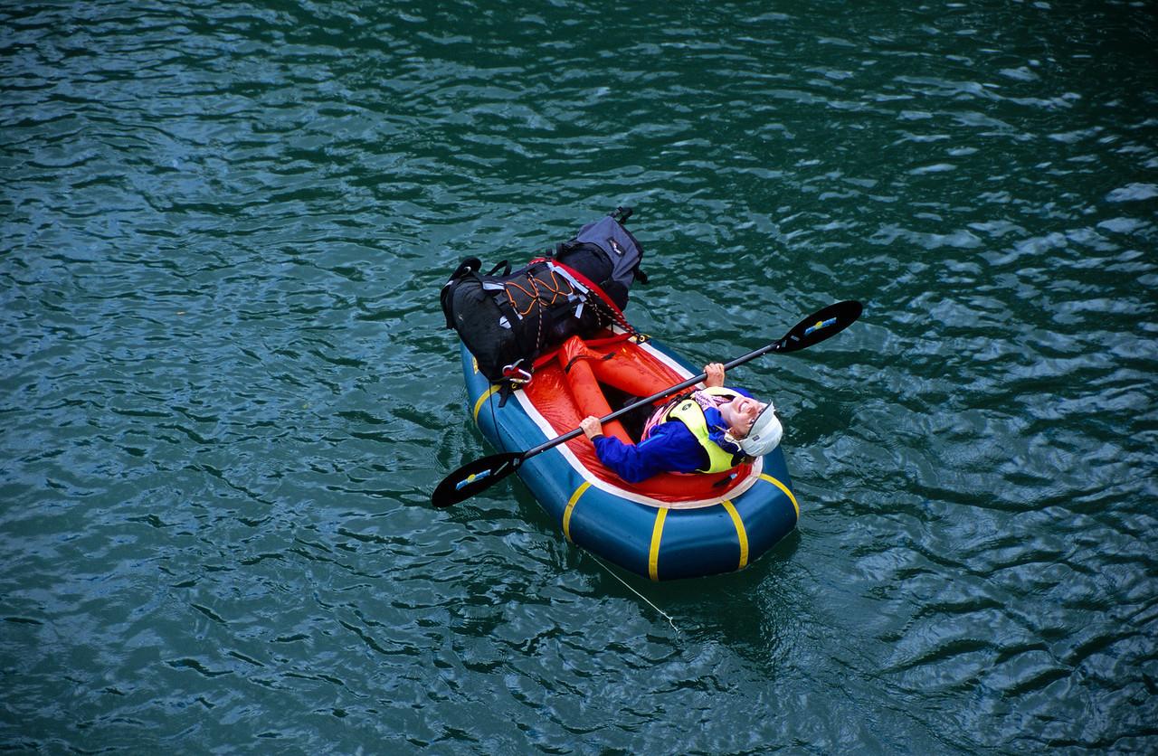Pack-rafting the lower Matukituki, West Wanaka Rd suspension bridge