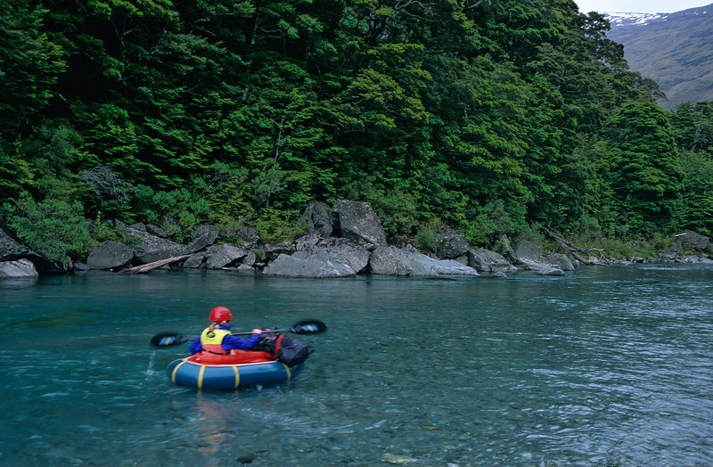 Pack-rafting the Matukituki just below Aspiring Hut