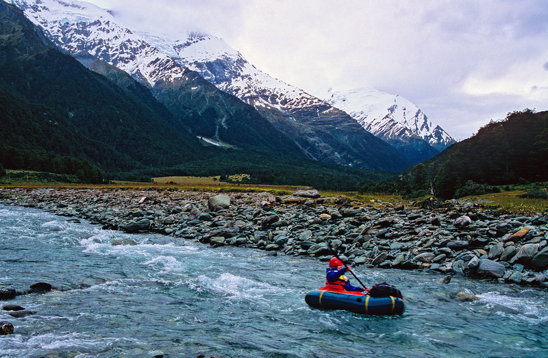 Pack-rafting the Matukituki just below Aspiring Hut