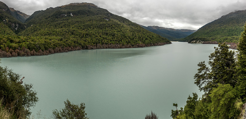 The new lake on the Dart River (formed 4 January 2014) from Sandy Bluff. The McBride Burn is on the far left