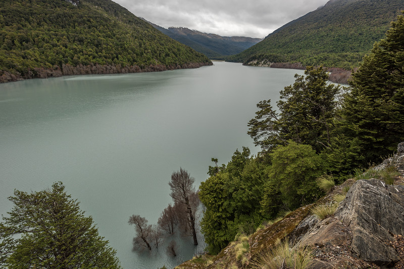The new lake on the Dart River (formed 4 January 2014) from Sandy Bluff