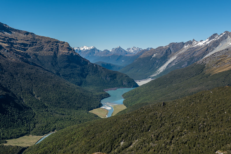 View down the Dart River from the spur below Seal Col, Barrier Range