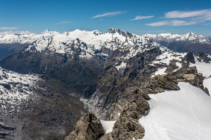 View into the head of the Joe River and Victor Creek from Watkins. From left to right are Mount Aspiring / Tititea, Mount Lydia, Mount Edward, Mount Ian, Mount Ansted, Mount Tyndall, Mount Tewha.