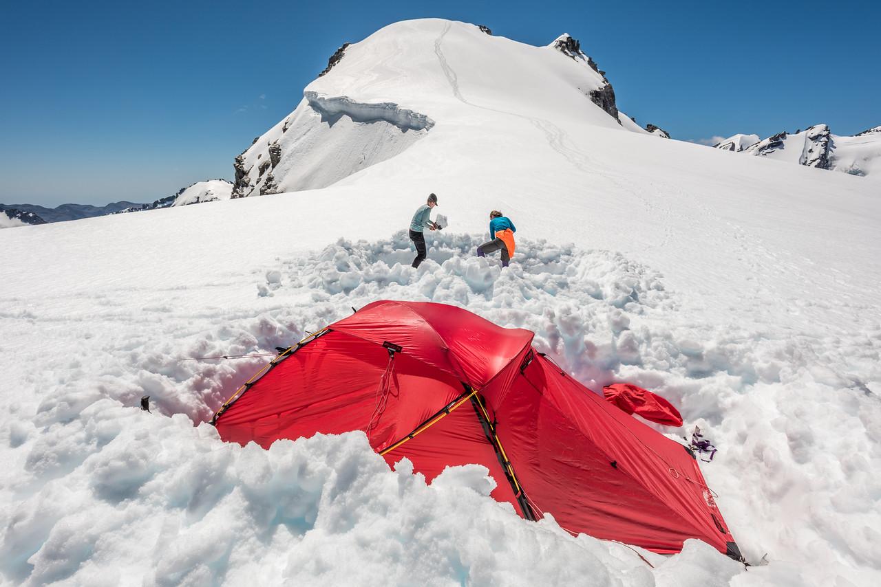 Campsite below Blockade Peak, Olivine Ice Plateau
