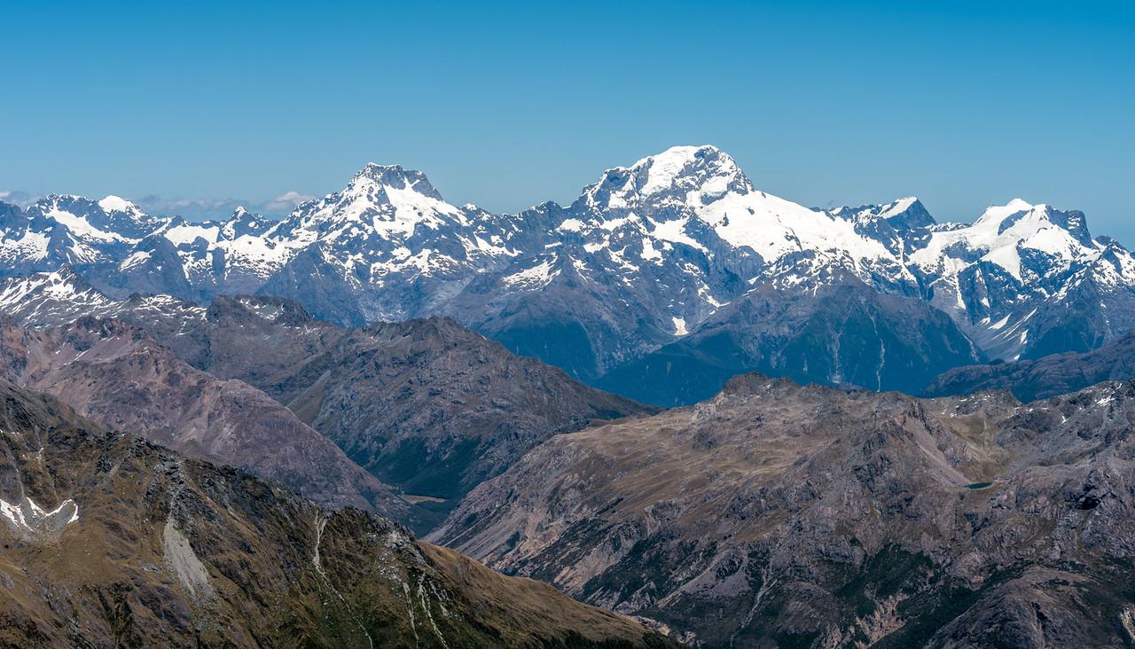 The Darran Mountains from Blockade Peak: Mount Patuki, Mount Underwood, Mount Syme, Mount Madeline, Mount Tutoko, Mount Grave, Paranui Peak, Mount Parariki.