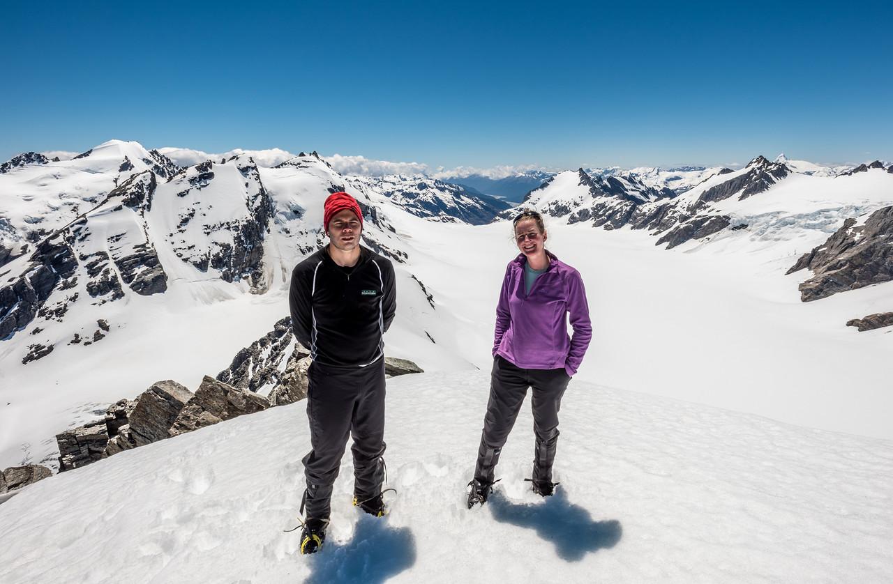 On the summit of Blockade Peak, high above the Olivine Ice Plateau.