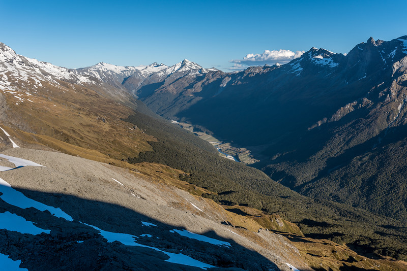 View into the head of the Dart River and Cattle Flat from the spur below Seal Col, Barrier Range. The most prominent peaks on the skyline are Mount Ansted, Mount Tyndall, Headlong Peak, Mount Clarke, OSONZAC Twins.