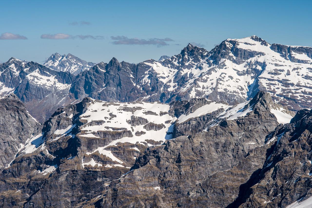 View from Key Rock: Mount Clarke, Centaur Peaks, OSONZAC Twins, Moira Peak and Mount Head.
