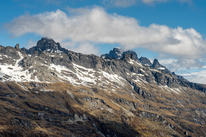 Forbes Mountains: from left to right are Sir William Peak, Mount Earnslaw West Peak (back), Cerberus (front), Pluto Peak.
