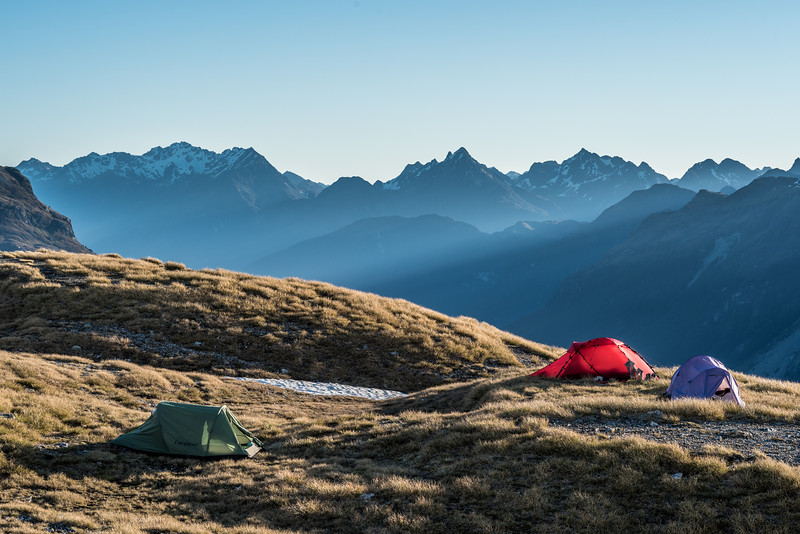Campsite on the spur below Seal Col, Barrier Range. Mount Bonpland and Upper Peak in the back